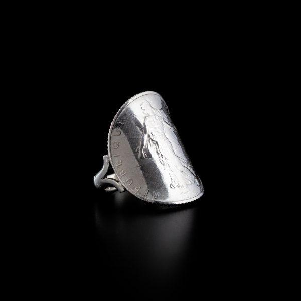 Bague 1 franc cintrée en argent le bijou français Castres