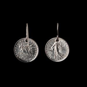 Boucle d'oreille 50 centimes en argent le bijou français Castres